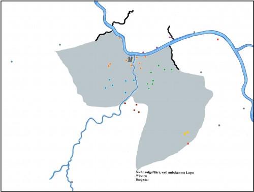 In der Abbildung verdeutlichen die schwarzen Striche die Grenzen des Binger Banns. Zusätzlich zeigt die grau hinterlegte Fläche die Binger Mark an unter der Annahme, dass die Selz nicht nur östliche Grenze des Banns, sondern auch der Binger Mark sei.