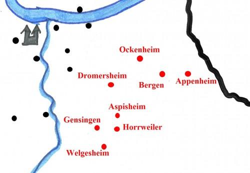Detailansicht der südöstlichen Besitzungen von Kloster Rupertsberg innerhalb von Mark und Bann.